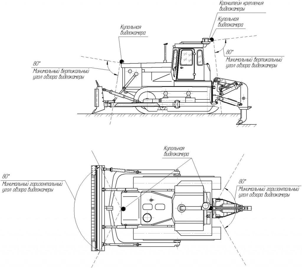 Схема установки видеокамер на бульдозер на гусеничном ходу