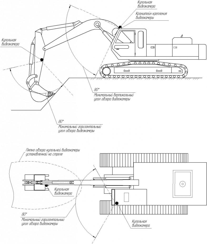 Схема установки видеокамер на экскаватор на гусеничном ходу